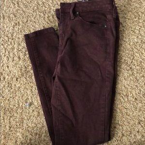 Maroon high rise skinny pants